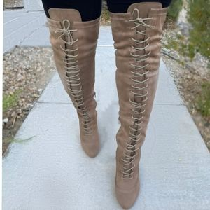 Taupe Faux Suede Chunky Lace Up Thigh High Boots